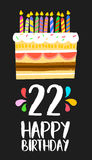 Happy Birthday cake card 20 twenty two year party. Happy birthday number 22, greeting card for twenty two years in fun art style with cake and candles Stock Photo