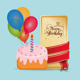 Happy birthday cake card wrapped ribbon balloons Stock Photo