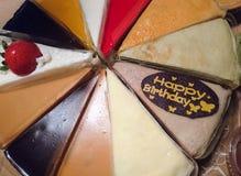 Happy birthday cake. Cake with happy birthday chocolate label stock photo