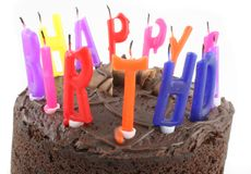 Happy Birthday - Cake Close up 2. Birthday Cake with Candles Isolated on a white background Stock Photos