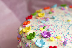Happy Birthday Cake. Birthday cake with colorful flowers and stars Royalty Free Stock Photos