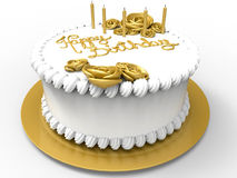 Happy birthday cake. 3D render illustration of a whipped cream cake with golden ornaments and the text happy birthday positioned in the middle. The composition Royalty Free Stock Images