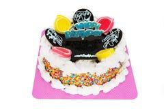 Happy Birthday Cake. Decorated cake isolated on white background stock images