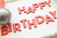 Happy Birthday Cake. Details of a happy birthday cake, on white background royalty free stock image