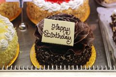 Happy Birthday Cake. Fancy Happy Birthday Cake Chocolate Cake royalty free stock photo