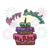 Happy birthday - cake and firework party vector design Stock Photos