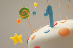 Happy Birthday Cake. Funny birthday cake with number one on top, sweet colorful decoration royalty free stock image