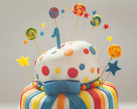 Happy Birthday Cake. Funny birthday cake with number one on top, sweet colorful decoration stock photo