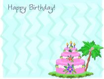 Happy Birthday Cake and Greeting Stock Images