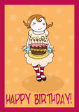 Happy birthday cake greetings card Stock Images