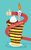 Happy birthday cake. Greetings from a man. The hand gives the ca Royalty Free Stock Image