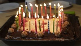 Happy birthday cake. With candles stock photography