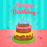 Happy Birthday Cake Illustration at Birthday Party. Happy Birthday Cake Illustration with candle and ribbon confetti and y at Birthday Party. Vector EPS10 vector illustration