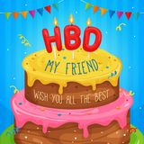 Happy birthday cake Illustration with text. Happy birthday cake Illustration with HBD text and wishes. Vector EPS10 Royalty Free Stock Photo