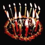 Happy birthday cake and lighted lit candles cell phone background Stock Photography