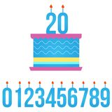 Happy Birthday Cake with Lit Candle, set of numbers. vector illustration isolated on white background. stock illustration