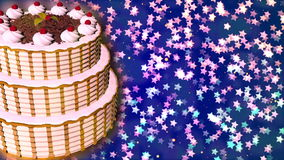 Happy Birthday cake. Loopable Abstract Background. stock video footage