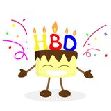 Happy birthday and cake man vector stock illustration