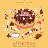 Happy birthday cake with micro people bakers tools around Royalty Free Stock Images