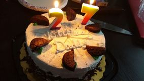Happy birthday. Cake on my 27th birthday Stock Images