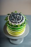 Happy birthday cake. Nice sponge happy birthday cake with mascarpone and grapes on the cake stand stock images