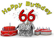 Happy Birthday. With cake and number as jack in the box Royalty Free Stock Images