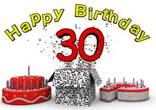 Happy Birthday. With cake and number as jack in the box Royalty Free Stock Photo