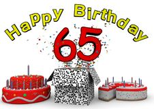 Happy Birthday. With cake and number as jack in the box Royalty Free Stock Photography