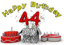 Happy Birthday. With cake and number as jack in the box Stock Photos