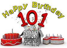 Happy Birthday. With cake and number as jack in the box Stock Images