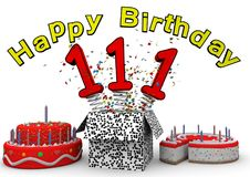 Happy Birthday. With cake and number as jack in the box stock illustration
