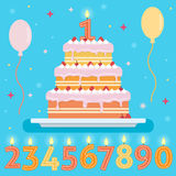 Happy Birthday cake with numbers candles. Party and celebration design elements. Flat style vector illustration Royalty Free Stock Photography