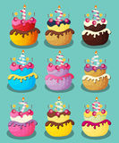 Happy Birthday Cake with Numbers Set Vector Illustration Stock Photo