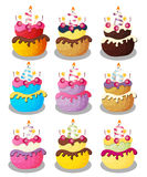 Happy Birthday Cake with Numbers Set Vector Illustration Stock Photos