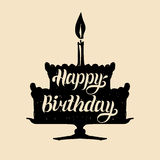 Happy Birthday cake with one candle. Vector hand lettering typography poster on festive pie silhouette. Greeting card. Royalty Free Stock Photography