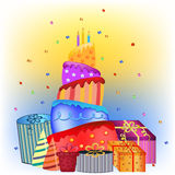 Happy birthday cake and presents Stock Images