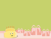 Happy birthday cake smiling with gifts Royalty Free Stock Photography