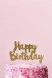 Happy birthday cake. Birthday cake with sparkly banner stock photos