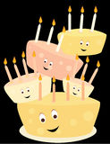 Happy birthday cake stack. Happy birthday cakes with candles stacked on a black background vector illustration
