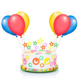 Happy birthday cake. Or tart with candles very colorful and looking very tasty, with balloons , isolated on white background stock photos