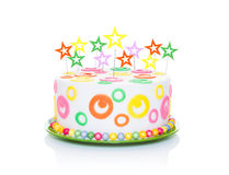 Happy birthday cake. Or tart with star candles very colorful and looking very tasty, isolated on white background stock photo