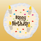 Happy birthday. An  cake with text and candles for a birthday party Stock Photography