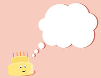Happy birthday cake thinking. Yellow birthday cake smiling as it thinks all on a pink background vector illustration