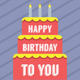 Happy Birthday Cake. Vector Illustration Stock Photo