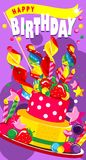 Happy Birthday Cake. Vector illustration of a vertical greeting card happy birthday sweet treats and a cake with candles and berries Stock Photos