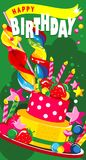 Happy Birthday Cake. Vector illustration of a vertical greeting card happy birthday sweet treats and a cake with candles and berries Royalty Free Stock Photo