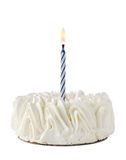 Happy Birthday Cake whit one blue candle. Isolated on white background Stock Image