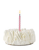 Happy Birthday Cake whit one pink candle Royalty Free Stock Photo