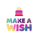 Happy birthday cake wish paper cut greeting card. Happy Birthday, make a wish paper cut quote design with colorful abstract hand drawn art. Ideal for special Royalty Free Stock Photos