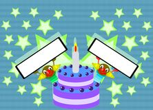 Happy Birthday Cake With Clowns And Stars Royalty Free Stock Photo